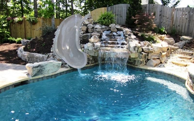 Custom Portable Pool Slides & Fiberglass Residential Water Slide ...