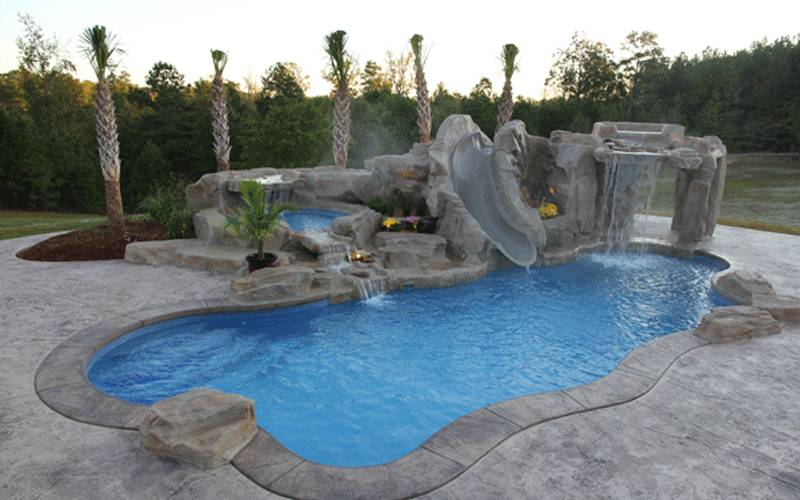 Custom Pool Slides & Fiberglass Residential Water Slides | Dolphin ...