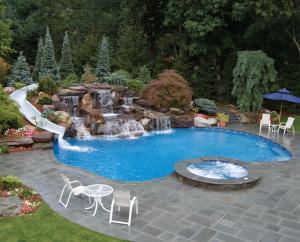 Home pool and waterslide